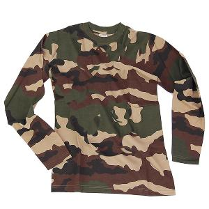 TEE SHIRT CAMOUFLAGE WOODLAND COL ROND ET MANCHES LONGUES S