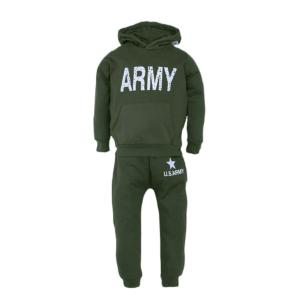 SURVETEMENT ENFANT / JOGGING ARMY ( PANTALON ET SWEAT ) EN MOLLETON VERT AVEC CAPUCHE 101 INC