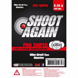 SACHET DE 500 BILLES BLANCHES 0.36G DE 5.95MM SHOOT AGAIN PRO SNIPER
