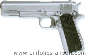 COLT 1911 MKIV CHROME GAZ KJ WORKS FULL METAL LOURD SYSTEME BLOW BACK ET HOP UP AVEC CULASSE MOBILE