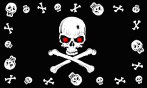 DRAPEAU PIRATE SKULL AND SKULL RED EYES 90 X 150 CM
