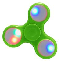 HAND SPINNER / TOUPIE A MAIN EN PLASTIQUE VERT AVEC LUMIERE LED MULTICOLOR