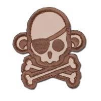 ÉCUSSON OU PATCH TÊTE DE MORT PIRATE SINGE MONKEY DESERT TAN MSM