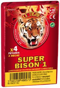 SUPER BISON 1 - PAQUET DE 4 PETARDS A MECHE LE TIGRE PYRAGRIC