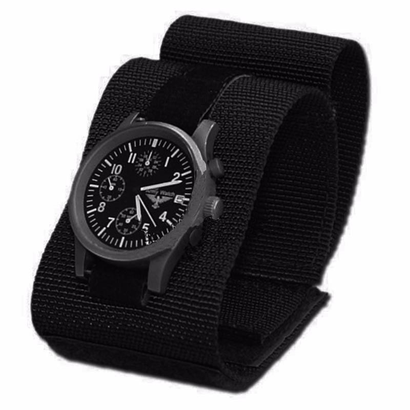 bracelet de montre commando a scratch en tissu souple leger noir 259112 airsoft. Black Bedroom Furniture Sets. Home Design Ideas