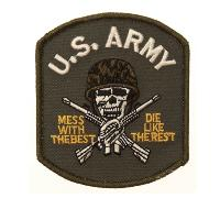 ECUSSON / PATCH BRODE U.S. ARMY SKULL AVEC CASQUE THERMO COLLANT AIRSOFT