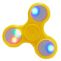 LOT DE 3 HAND SPINNER / TOUPIE A MAIN EN PLASTIQUE BLANC / JAUNE / VERT AVEC LUMIERE LED MULTICOLOR
