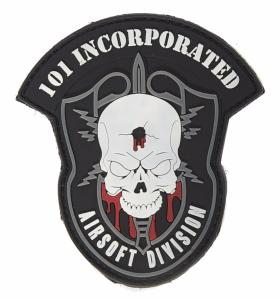 PATCH / ECUSSON 3D PVC SCRATCH BLASON 101 INCORPORATED AIRSOFT DIVISION NOIR