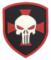 PATCH / ECUSSON 3D PVC SCRATCH BLASON THE PUNISHER CROIX ROUGE