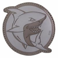 PATCH / ECUSSON 3D PVC VELCRO REQUIN QUI ATTAQUE GRIS