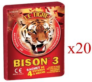 BISON 3 - LOT DE 20 PAQUETS DE 4 PETARDS A MECHE LE TIGRE PYRAGRIC