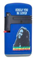 BRIQUET TEMPETE PROF RECHARGEABLE DOUBLE FLAMME FINITION GOMME BLEU COLLECTION BOB MARLEY