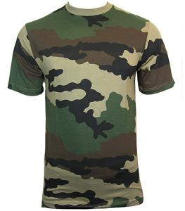 TEE SHIRT CAMOUFLAGE ARMEE CENTRE EUROPE COL ROND ET MANCHES COURTES