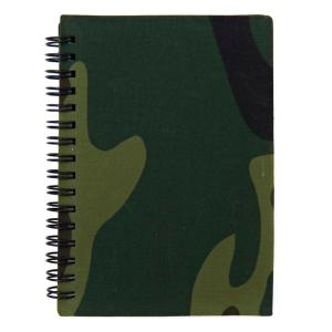 BLOC NOTE / CARNET A SPIRALE FORMAT A6 ( 14 X 10.3 CM ) 50 PAGES COUVERTURE CAMOUFLAGE WOODLAND