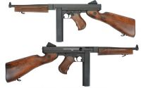 THOMPSON M1 A1 MILITARY AEG KING ARMS BOIS VERITABLE ET ALUMINIUM + BATTERIE 1600 MH + MOSFET