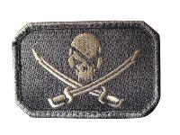 ECUSSON / PATCH RECTANGULAIRE PIRATE SKULL GRIS A SCRATCH MSM