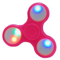 HAND SPINNER / TOUPIE A MAIN EN PLASTIQUE ROSE AVEC LUMIERE LED MULTICOLOR