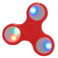 HAND SPINNER / TOUPIE A MAIN EN PLASTIQUE ROUGE AVEC LUMIERE LED MULTICOLOR