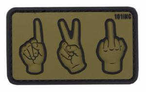 PATCH / ECUSSON 3D PVC VELCRO ONE TWO FUCK YOU VERT ET NOIR