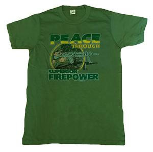 TEE SHIRT KAKI MANCHES COURTES IMPRIME PEACE THROUGH SUPERIOR FIREPOWER