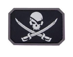 ECUSSON / PATCH RECTANGULAIRE PIRATE SKULL SWAT NOIR A SCRATCH MSM