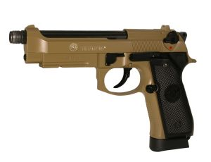 TAURUS PT92 BEIGE TAN SABLE CO2 KJ WORKS FULL METAL LOURD SYSTEME BLOW BACK SPIN UP 1 JOULE