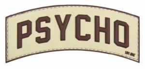 PATCH / ECUSSON 3D PVC VELCRO PSYCHO MARRON SUR FOND TAN