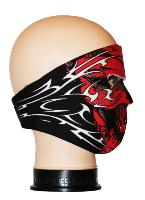 MASQUE DE PROTECTION NEOPRENE CRANE ROUGE AVEC TRIBALS BLANCS