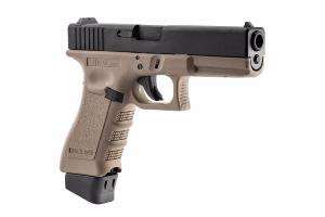 STARK ARMS S17 G17 COMBAT CO2 BLOWBACK SEMI FULL AUTO TAN NOIR + SON CANON SUPPLEMENTAIRE METAL