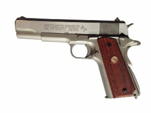 COLT MK IV SERIES'70 SILVER CO2 BLOW BACK FULL METAL 1.1 JOULE