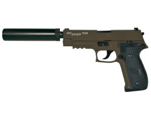 SIG SAUER P226 GAZ KAKI KJ WORKS FULL METAL LOURD SYSTEME BLOW BACK ET SPIN UP+SILENCIEUX