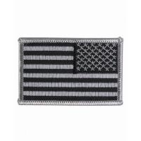 ECUSSON OU PATCH DRAPEAU USA INVERSE GRIS ET NOIR BRODE THERMO COLLANT