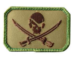 ECUSSON / PATCH RECTANGULAIRE PIRATE SKULL VERT A SCRATCH MSM