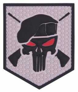 PATCH / ECUSSON 3D PVC SCRATCH THE PUNISHER COMMANDO GRIS