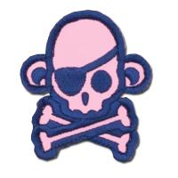 ÉCUSSON OU PATCH TÊTE DE MORT PIRATE SINGE MONKEY GIRLY ROSE MSM