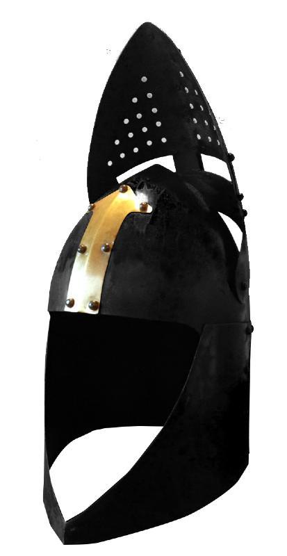 replique casque de templier en acier noir et laiton or avec visi re mobile ch4135 fuentes. Black Bedroom Furniture Sets. Home Design Ideas
