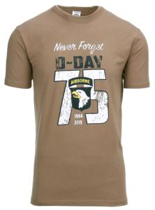 TEE SHIRT COYOTE MANCHES COURTES NEVER FORGET D-DAY 75 YEARS AIRBORNE