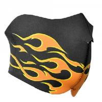 MASQUE DE PROTECTION DEMI NEOPRENE FLAMME NOIR ET ORANGE DMONIAC