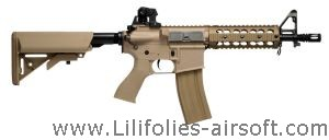 GR15 RAIDER DST AEG TAN BLOWBACK / CULASSE MOBILE + CHARGEUR + BATTERIE HOP UP 1.2 JOULE