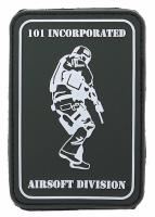 PATCH / ECUSSON 3D PVC SCRATCH 101 INCORPORATED AIRSOFT DIVISION VERT ET BLANC