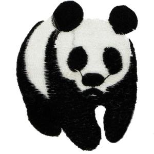 ECUSSON OU PATCH PANDA NOIR ET BLANC BRODE THERMO COLLANT