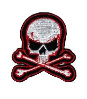 ECUSSON OU PATCH TETE DE MORT BLANC NOIR ET ROUGE BRODE THERMO COLLANT