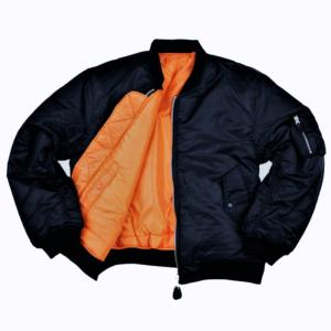 BOMBER / BLOUSON AVIATEUR MA-1 REVERSIBLE NOIR / ORANGE FOSTEX