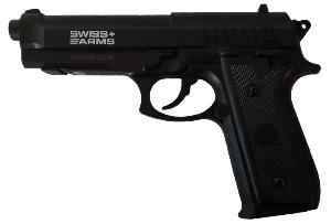 PISTOLET P92 SWISS ARMS CO2 CULASSE FIXE ABS NOIR 2 JOULE SEMI AUTO 4.5MM