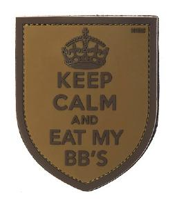 ECUSSON/PATCH 3D PVC SCRATC KEEP CALM AND EAT MY BBS BOUCLIER COURONNE 101 INC MARRON/BEIGE AIRSOFT