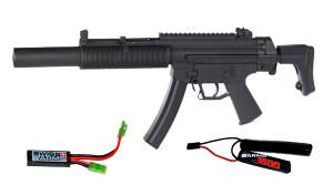 MP5 GSG - 522 INTEGRATED SILENCER AEG BLOWBACK SEMI ET FULL 1.3 JOULE + BATTERIE 1600 MH + MOSFET