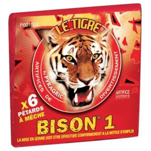 BISON 1 - LOT DE 20 PAQUETS DE 6 PETARDS A MECHE LE TIGRE PYRAGRIC SOIT 120 PETARDS