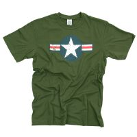 TEE SHIRT VERT MANCHES COURTES US AIR FORCE SECONDE GUERRE MONDIALE