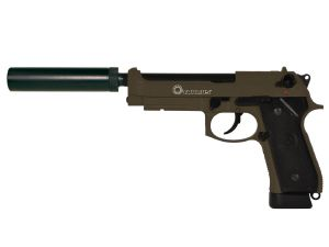 TAURUS PT92 KAKI CO2 KJ WORKS FULL METAL LOURD SYSTEME BLOW BACK SPIN UP+SILENCIEUX+MALETTE 1 JOULE