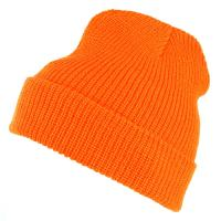 BONNET COMMANDO 100 % ACRYLIQUE ASPECT LAINE UNI - ORANGE